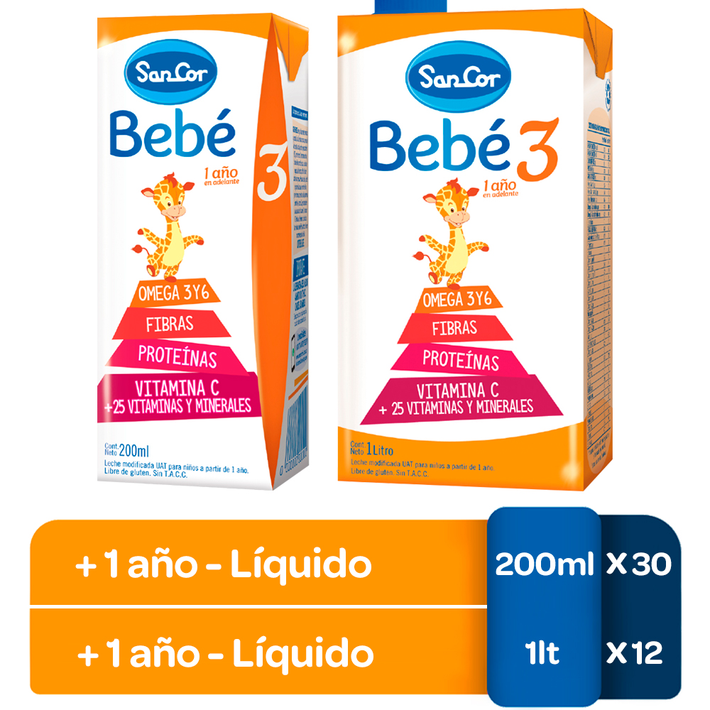 Leche Sancor Bebe 3 Combo 200ml X30u. + 1lt X 12u. (copia)