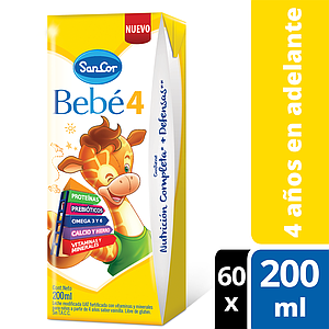 Sancor Bebé 4 Pack Leche Infantil Líquida 60 Bricks X 200ml